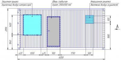 Габаритные размеры компрессорной станции в 20-ти футовом контейнере. Вид спереди.