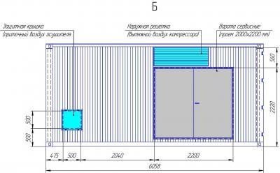 Общий вид и габариты компрессорной станции в 20-футовом контейнере. Вид сзади.