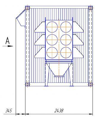 Габаритные размеры станции ККС-55-А в 40 футовом контейнре. Вид сбоку